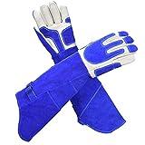 動物用ハンドリング手袋フルレザーかみ傷防止爬虫類イグアナヘビトカゲ傷耐性保護手袋エクストラロング60CM zhu (Color : Blue, Size : M)