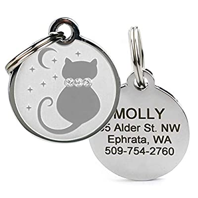stainless steel ID tags for cats, can personalize with cat's information