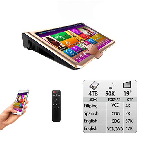 4TB HDD,90K English +Filipino + Spanish Songs, 19'' Touch Screen Karaoke Player,Select Songs Via Monitor and Mobile Device, Remote Controller Include.