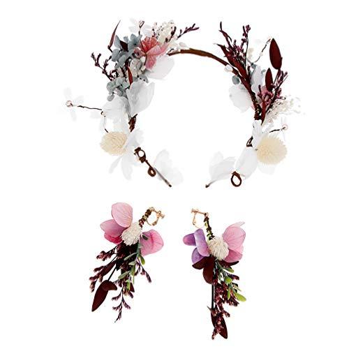 Lurrose bloemenhoofdband bos bloemen tiara en oorbellen maken kunstplant bruiloft haaraccessoires
