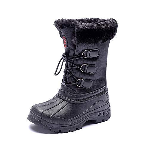SPKIDS Boys Snow Boots Winter Waterproof Slip Resistant Cold Weather Shoes(Black,7 M US Big Kid)