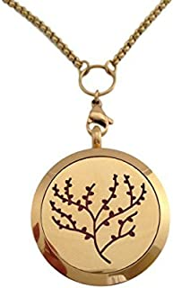 Essential Oils Diffuser Jewelry Aromatherapy Necklace Stocking Stuffer Gold Plated 316 Stainless Steel Tree of Life Pendant Locket 24
