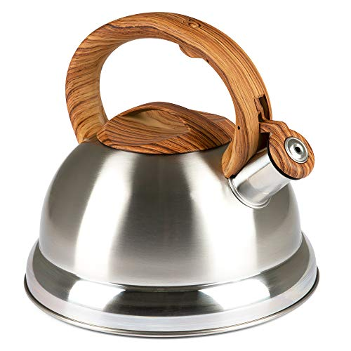 Whistling Tea Kettle with 5 Layer Bottom, 2.4 Quarts, Brushed Stainless Steel - Modern, Polished Tea Pot with Wood Grain Handle for Gas, Electric, Induction, Ceramic Stovetops - Cooktop Kettles