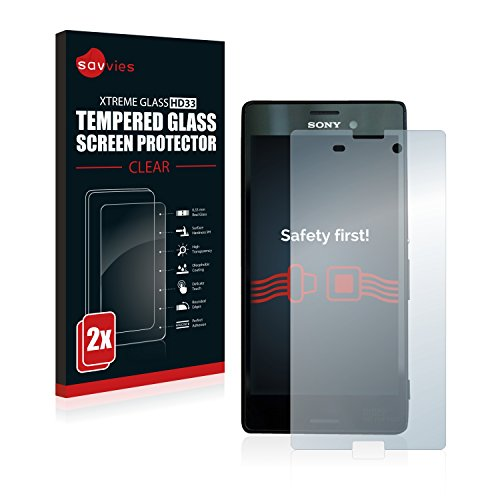 Savvies Panzerglas kompatibel mit Sony Xperia M4 Aqua (2 Stück) - Echt-Glas, 9H Härte, Anti-Fingerprint