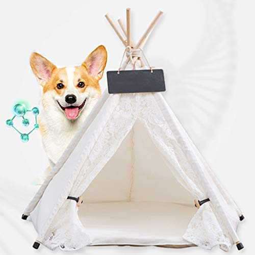 Estrella-L Pet Teepee Dog(Puppy) & Cat Bed - Portable Foldable Pet Tents & Houses For Dog(Puppy),With Cushion & Blackboard(Lace White),L