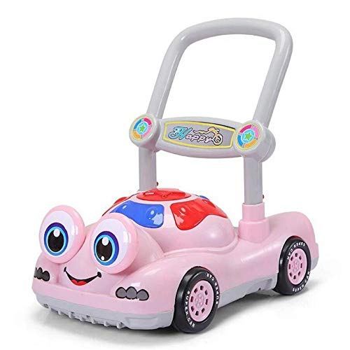 ZHAOHUIFANG Laufkatze, Laufkatze, Spielzeugauto Für Kinder, 6-18 Monate, Anti-Test, Musik, Rollator,Pink