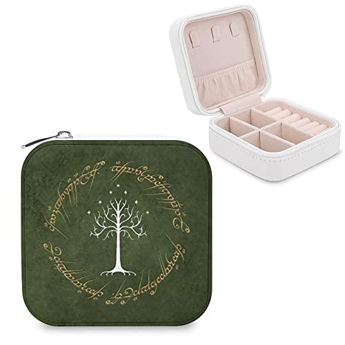 Lord Rings - Joyero de piel sintética para viajes, portátil, para collares, pendientes, pulseras, anillos, relojes, expositores, cajas de joyería para mujeres