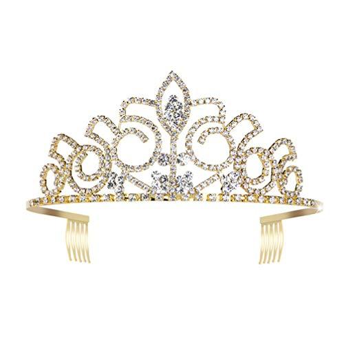 Tiara de boda dorada con diamantes de imitación brillantes corona de novia con peine lateral de cristal princesa diadema para fiesta de graduación
