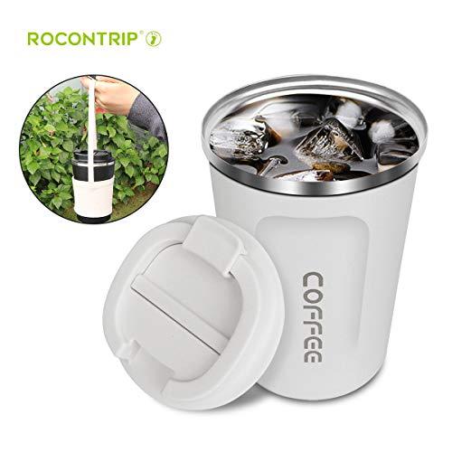 ROCONTRIP Vakuum Kaffee Tasse, Wiederverwendbare Reisebecher Doppelwandige Edelstahl Kaffee Tasse mit auslaufsicherem Deckel Umweltfreundliche Reisebecher für Kaffee und Getränke für unterwegs, Büro