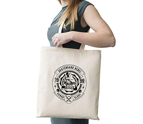 Skateboard Rebel Cotton Canvas Tote Carry All Day Bag