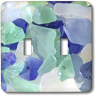 3dRose LLC lsp_39654_2 Blue And Seafoam Green Sea Glass, Double Toggle Switch