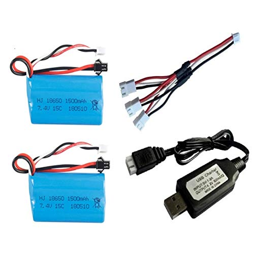 berglink 7.4v 1500mah Lipo Battery, for U12a S033g Q1 Tk H101 18650 7.4v Battery Rc Toys Drone Spare Parts Accessories 2pcs+SM Plug