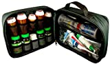StarPlus2 Large Padded Pill Bottle Organizer, Medicine Bag, Case, Carrier for Medications, Vitamins, and Medical Supplies with Fixed Pockets - for Home Storage and Travel - Black (Without Lock)