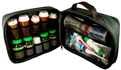 StarPlus2 Large Padded Pill Bottle Organizer, Medicine Bag, Case, Carrier for Medications, Vitamins, and Medical Supplies - for Home Storage and Travel - Black (Without Lock)