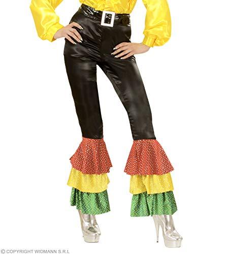 WIDMANN XL schwarze Satin-Hose mit Pailletten Kostüm XL für 70er Jahre Travolta Night Fever Mottoparty
