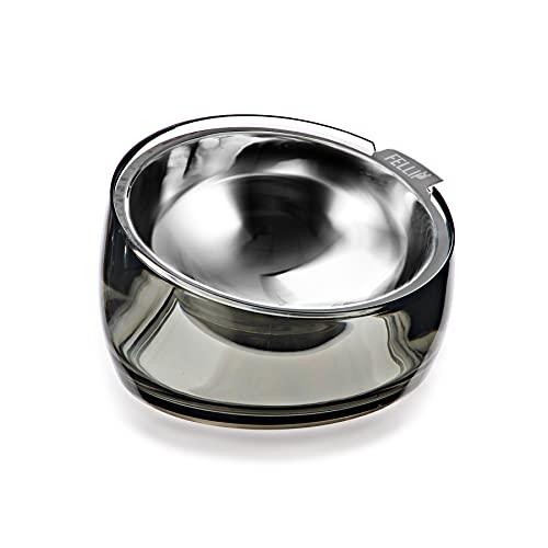 Felli Pet Elevated Dog Bowl Stainless Steel Slanted Oval Dog Dish Detachable for Small Medium Pet Non Slip Base Ergonomic Dog Food Bowl Feeder for Maine Coon Cat Bulldog(1.5 Cups Supreb, Smoky Quartz)