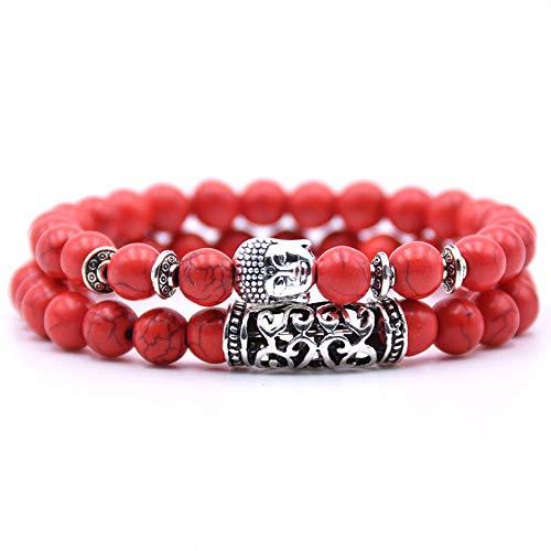 Bracelet Perle Bouddhiste 2 Pulseras de Perlas budistas, del Tibet, con Amuleto de Cabeza de Buda y Piedra de protección de Chakra, Pulsera de Perlas de energía - Rojo