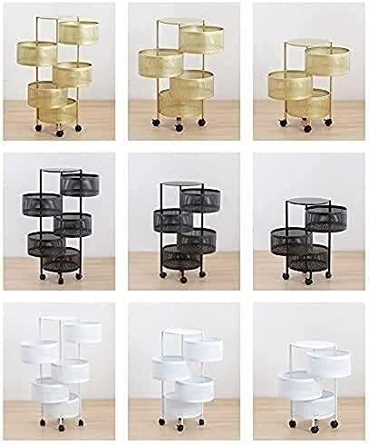 FXBFAG Bastidores de cocina redondos de 360 grados giratorios para el hogar con ruedas, cestas de verduras, estantes cilíndricos de almacenamiento con ruedas (tamaño: 4 capas: 75 cm x 32 cm)
