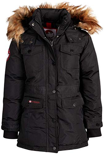 'CANADA WEATHER GEAR Girls Outerwear – Heavyweight Insulated Long Length Durable Expedition Parka Jacket (All Black, 7/8)'