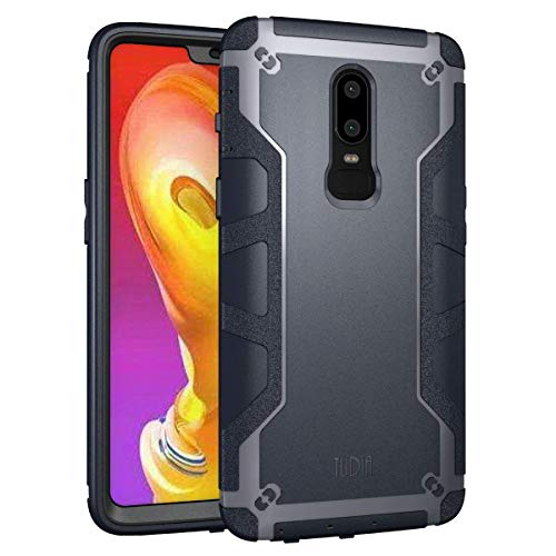 TUDIA OnePlus 6 Case, OMNIX [Heavy Duty] Hybrid [Full-Body] Case with Front Cover and Built-in Screen Protector/Impact Resistant Bumpers for OnePlus 6 (Navy Blue)