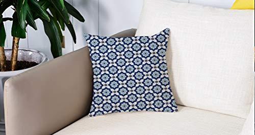Pillow Case Cojín Cuadrado Print,Indigo, azulejos antiguos marroquíes étnicos orientales como detalles florales de la imagen, aAdecuado para Oficina, Familia, automóvil, cafetería, Tienda, 45x45cm