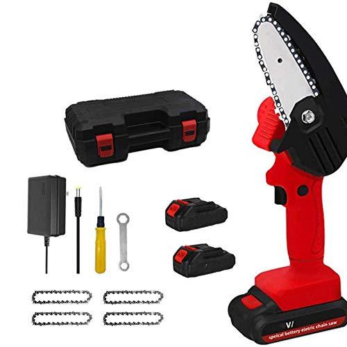 XJZKA Mini Juego de Motosierra Motosierra eléctrica portátil inalámbrica para Corte de Madera de Rama de árbol de jardín Rojo
