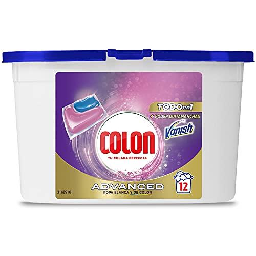Colon Vanish Advanced Detergente para la ropa con quitamanchas, adecuado para ropa blanca y de color, Formato cápsulas - 12 lavados