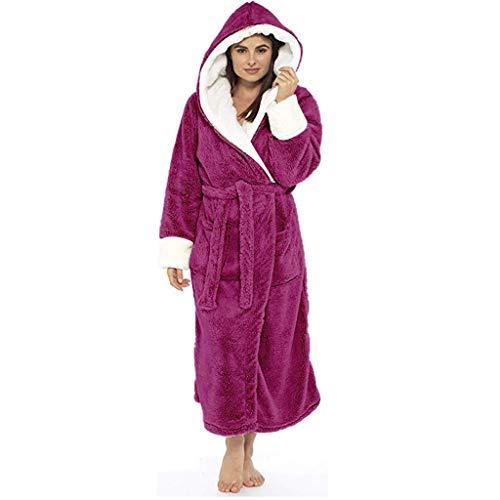 KaloryWee Peignoir De Bain Capuche Femme Cadeau Noël Doux Grande Taille Peluche Velours Pas Cher Hiver Chaud Kimono Fourrure Robe De Pyjama Manche Longue Ceinture