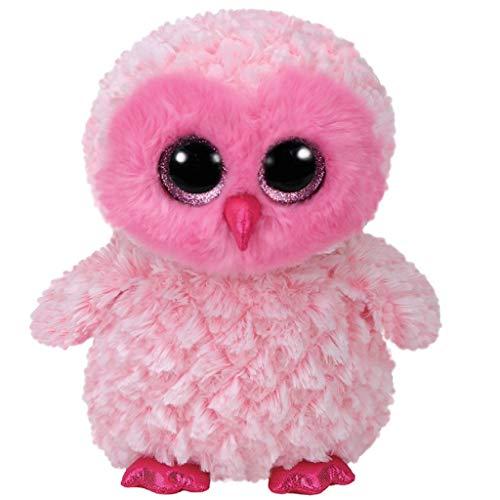 TY 37160 Owl 37158 Twiggy, Eule mit Glitzeraugen, Beanie Boo's, Plüsch, Rosa, 24 cm, Pink/Weiß