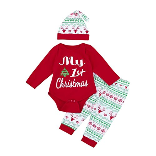 Lenfesh Lenfesh 3 Stück Weich Kleinkind Säugling Baby Mädchen Strampler + Hosen + Hut Weihnachten Outfits Set 6-24 Monat (70/6 Monat, Rot)