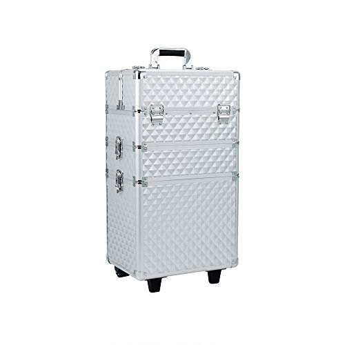 Luggage Cosmetic Cases 3 in 1 Large Vanity Organiser Rolling Case Beauty Make Up Lockable Trolley Cosmetic Box Storage Case With Wheels, Sliver