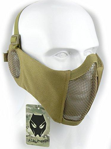 ATAIRSOFT Tactical Airsoft CS Protector Inferior Protector Malla Nylon Media máscara Facial con Cubierta para los oídos Tan