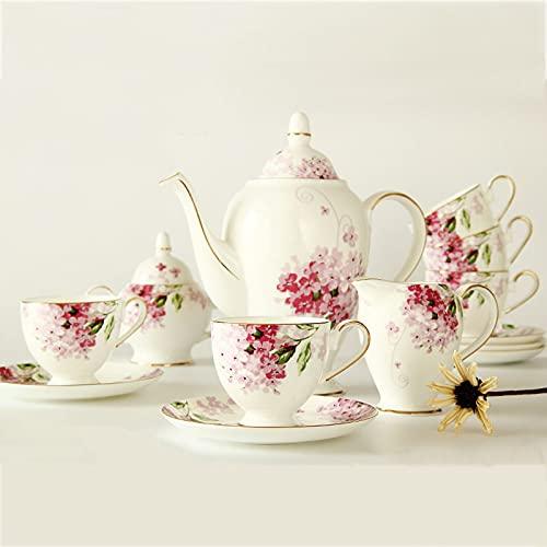 ZQJKL 15 Piezas Juego de Café de La Tarde Juegos de Tazas Té Vintage Servicio de Té para 6 Tazas y Platillos Lujo Vajilla de Porcelana de Hueso