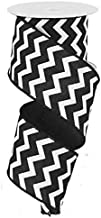 "Chevron Wired Edge Ribbon (2.5"", Black White) - 10 Yards : RG101902"