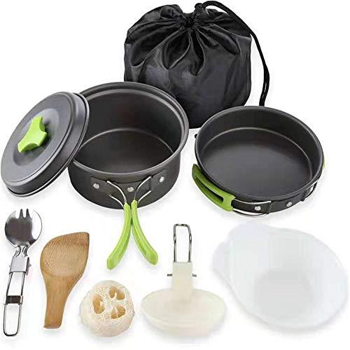 XGTsg Camping Cocinas Alumina Picnic 2 Personas Exterior Barbacoa Menaje Combinación Pote...