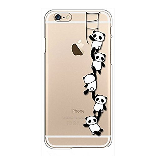 Case Compatible with iPhone 6s, iPhone 6 Case Panda Clear Design Transparent TPU Cover for iPhone 6 6S (Panda Ladder)