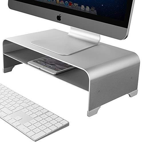 2 Tiers Aluminum Monitor Stand Shelf Riser Metal Desk Stand Base up to 27 inches Screens for PC, Laptop, Computer, iMac, MacBook with Storage Organizer Space for Magic Keyboard & Mouse(Silver