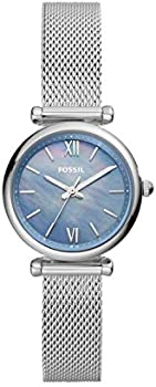 Fossil Women's Carlie Mini Silver-Tone Stainless Steel Quartz Watch