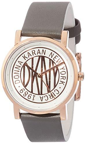 DKNY Damen-Armbanduhr Soho Quarz Leder Grau mit Rotgold Weißes Zifferblatt NY2764
