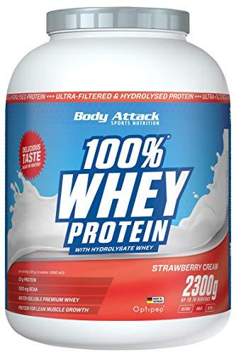 Body Attack - 100% Whey Protein, extra cremiges Eiweißpulver mit Hydrolysat und BCAA´s, unterstützt Muskelaufbau und Diäten, für alle Sportler & Athleten - Made in Germany – 2,3kg (Strawberry)