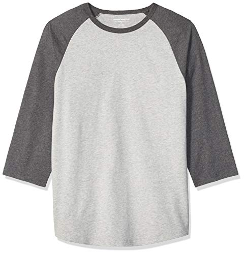 Amazon Essentials - Camiseta de béisbol para hombre (manga 3/4), Charcoal Heather/Light Gray Heather, US S (EU S)