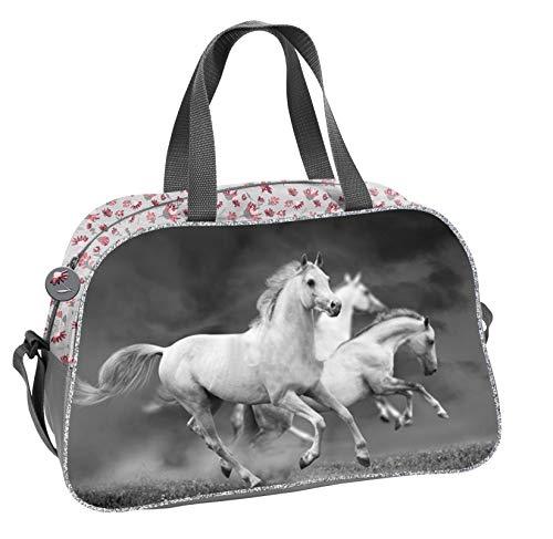 Ragusa-Trade Mädchen Kinder Sporttasche Reisetasche mit tollem Pferde Motiv (19HS) für Mädchen, grau, 40 x 25 x 13 cm