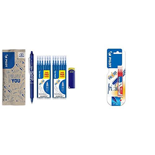 Pilot frixion clicker bolígrafo borrable, color azul inkl. 12 minen + Frixion Recargas para bolígrafos Frixion (3 unidades), color rojo