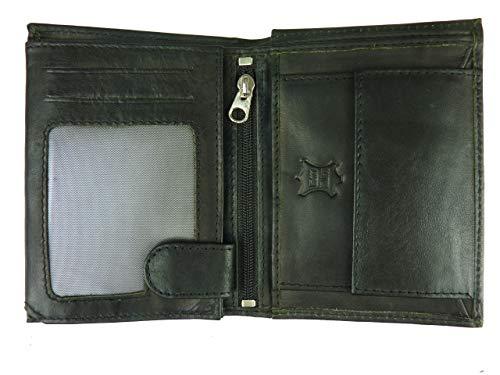 COMPATIMMO Herren Brieftasche - Geldbörse - weiches echtes Leder - Banknoten- und Münzfach - Slim Wallet - Mehrfarbig bunt - Männer Geldbeutel - Material upcycling (schwarz Black)