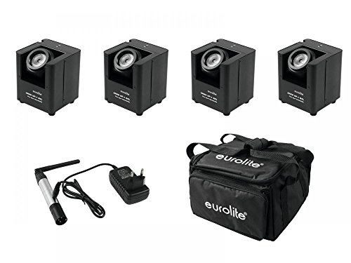 EUROLITE Set 4x AKKU UP-1 + SB-4 Soft-Bag + QuickDMX Funksender