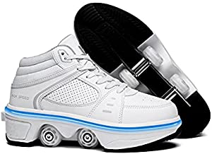 KOFUBOKE LED Women Deformation Roller Skate Shoes ,Men Double-Row Walking Shoes with Invisible Wheels (high-top White with Light, 2.5)