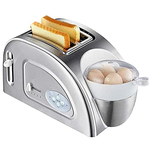 Toaster Toast and Egg 2 Slice Toaster and Egg Maker, Extra Wide Slot Compact Stainless Steel Toaster Multi-Functional Breakfast Maker, 5 Browning Setting - 1200W - Silver