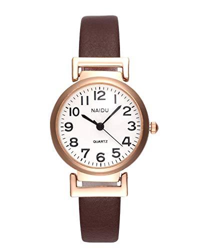 JSDDE Uhren Klassische Damen Armbanduhr Arabische Ziffer Damenuhr Lederband Uhr Analog Quarzuhr Retro Uhr Schwarz für Frauen Damen Mädchen(Kaffee)