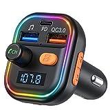 VicTsing Transmetteur FM Bluetooth Voiture, 3 USB Ports Inclus PD USB-C, QC3.0 et 5V1A, Adaptateur Radio sans Fil avec 9 Modes de Lumière, Bluetooth 5.0 Mains Libres, Support Lecteur de Carte TF/USB