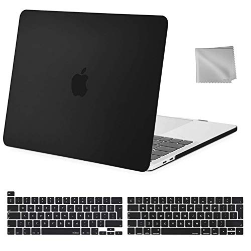 MOSISO MacBook Pro 13 inch Case 2020 2019 2018 2017 2016 Release A2289 A2251 A2159 A1989 A1706 A1708, Plastic Hard Shell&Keyboard Cover&Wipe Cloth Compatible with MacBook Pro 13 inch, Black